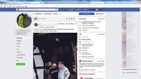 Screenshot eines Facebook-Posts, der den Mitarbeiter der Sicherheitsfirma mit Tommy Frenck zeigt