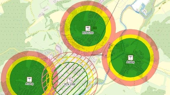 Grafik Sirenenabdeckung in Jena-Nord