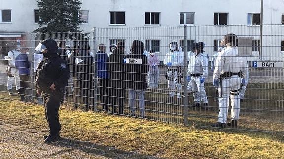 Polizeieinsatz in der Erstaufnahmestelle für Flüchtlinge in Suhl