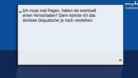 """Texttafel: User unterstellt anderem User einen """"Hirnschaden""""."""