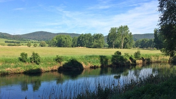 Die Werra bei Sallmannshausen bei Sonnenschein