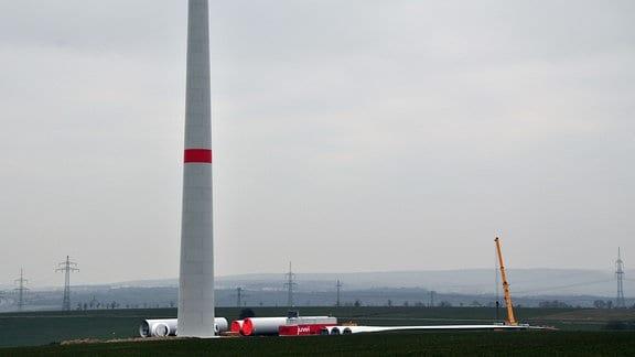 Baustelle einer Windkraftanlage.