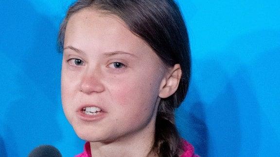 Die Klimaaktivistin Greta Thunberg spricht beim Un-Klimagipfel bei den Vereinten Nationen.
