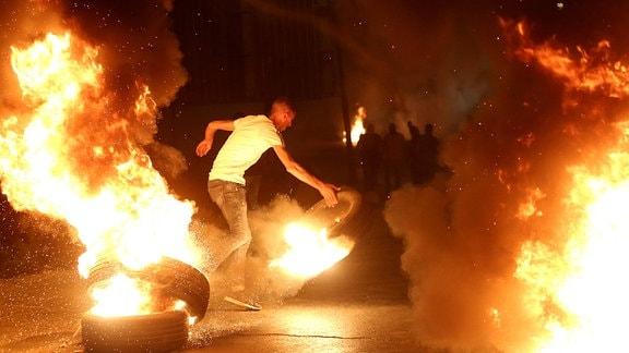 Demonstration gegen den geplanten Räumungsprozess im Stadtteil Scheich Dscharrah.