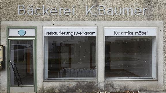 geschlossener Laden einer ehemaligen Bäckerei