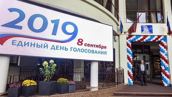 September 8, 2019, Moscow, Russia: Entrance to a polling station during the voting day for the Moscow City Council elections.