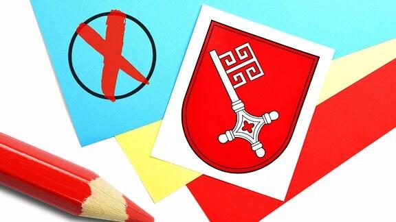 Landeswappen von Bremen mit Wahlkreuz und Stift