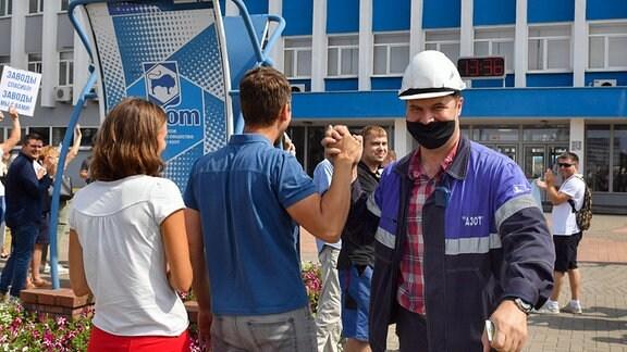 Die Arbeiter von Grodno Azot, einem belarussischen Hersteller von Stickstoffverbindungen und Düngemitteln, im Streik.