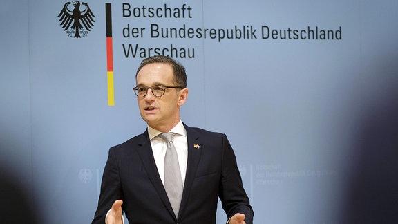 Bundesaussenminister Heiko Maas, SPD, besucht die deutsche Botschaft in Warschau.