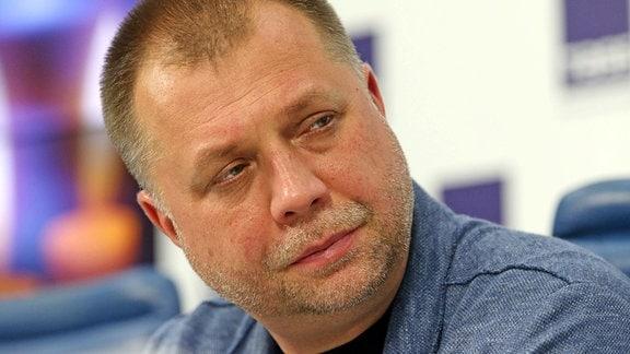 Alexander Borodai, Leiter der Union der Donbass Volunteers, während einer Pressekonferenz