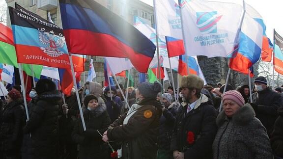 Demonstranten in Debalzewe
