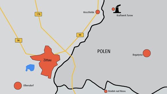 Kohlekraftwerk und Tagebau Turow im polnischen Bogatynia