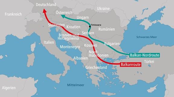 Karte der Balkanroute