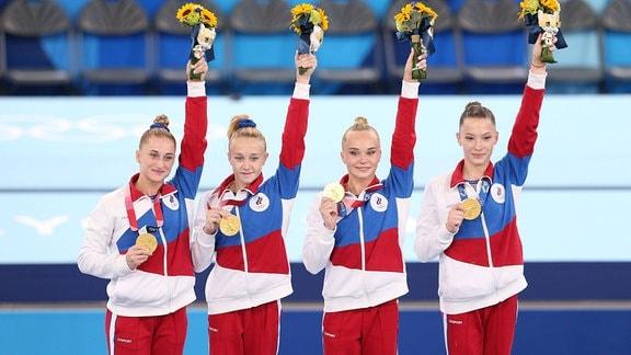 Lilia Akhaimova, Viktoria Listunova, Angelina Melnikova und Vladislava Urazova