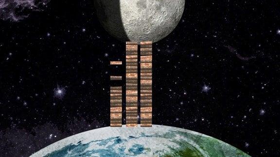 Grafik Holzstapel der bis zum Mond reicht