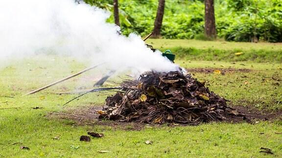 Ein stark rauchender, brennender Laubhaufen