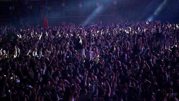 Jubelnde Menschenmasse bei einem Konzert