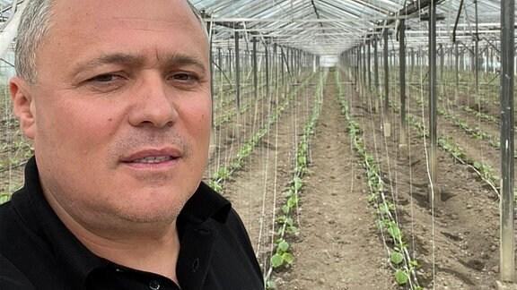 Landwirt Florin Purcea im rumänischen Isalnita im Gewächshaus vor seinen Gurkenpflanzen.