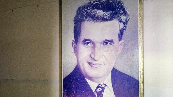 Porträt des Führers der kommunistischen Ära, Nicolae Ceausescu.