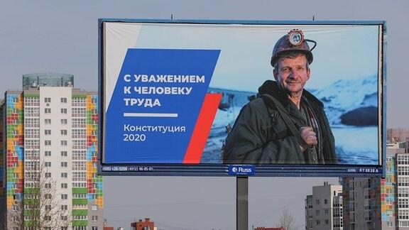Werbung für die Verfassungsänderung in Moskau
