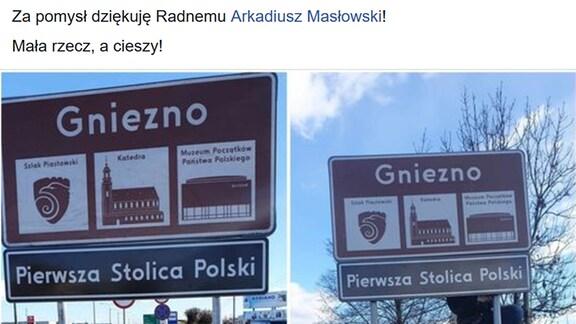 """Ortschild von Gnieznó mit dem Zusatz: """"Erste Hauptstadt Polens"""""""