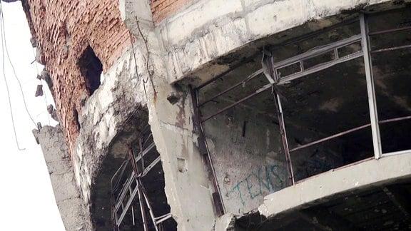 Ehemaliger Wasserturm von Vukovar, mit starken Kriegsschäden