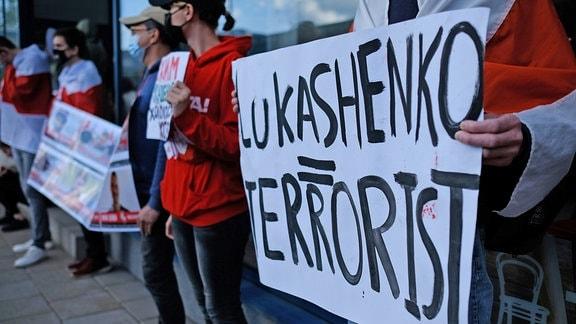 roteste für die Freilassung des belarussischen Bloggers Roman Protasewitsch in Litauen
