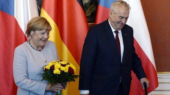 Milos Zeman und Angela Merkel in Prag, 2016