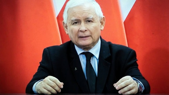 Jaroslaw Kaczynski während einer Ansprache.