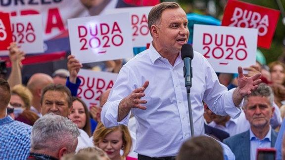 Andrzej Duda auf einer Wahlkampfveranstaltung in Kielce