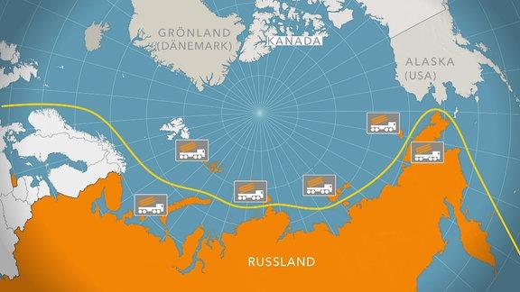 Schifffahrtsweg durch die Arktis auf einer Karte