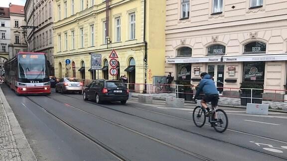 Ein Teil des sogenannten  Backbone-Radweges im Prager Stadtzentrum.