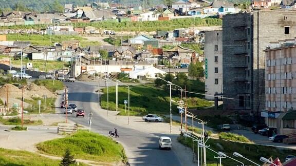 Die Stadt Magadan in Sibirien