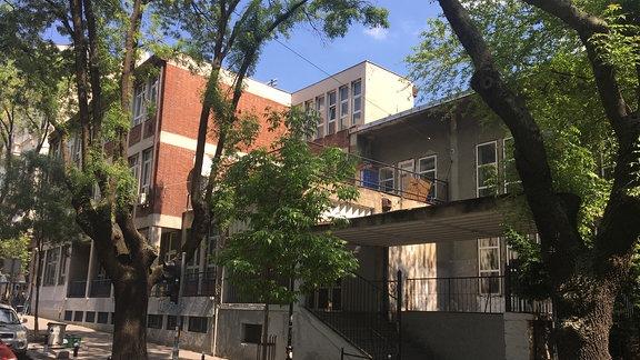Bäume stehen Vor dem Plattenbau eienr Schule in Belgrad.