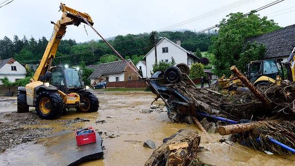 Ein von Überschwemmungen zerstörter Ort in Tschechien.