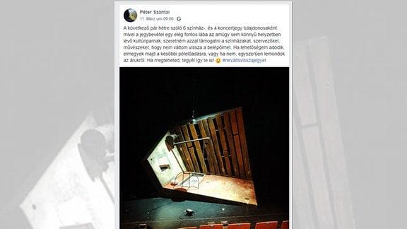 Péter Szántai, ein ungarischer Kulturmanager, mit einem Facebookpost
