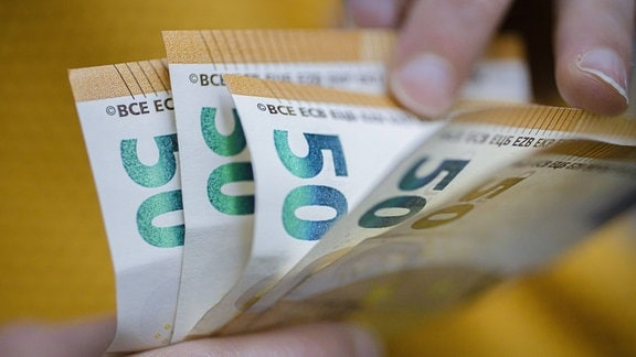 Symbolbild: Geldscheine werden in der Hand gezählt.