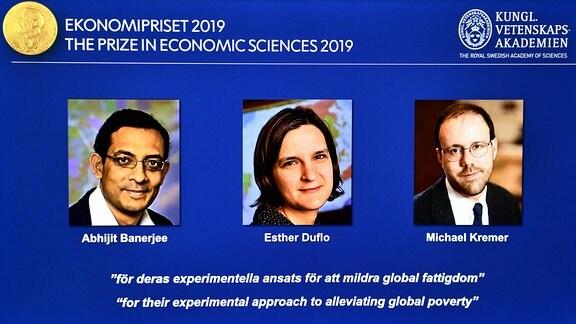 Abhijit Banerjee, Esther Duflo und Michael Kreme