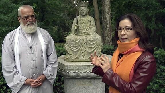 Mann, Statue, Frau