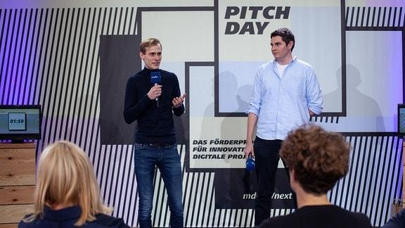 Daniel George und Max Schörm beim Pitchday