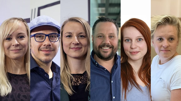 MDR next: Nadine Mosch, Johannes Schiller, Christin Schulz, Christoph Rieth, Amelie Hüsni, Allin Marré (v.l.)
