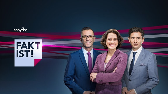 """Sendereihenbild """"Fakt ist"""" mit den Moderatoren Dr. Andreas Menzel, Anja Heyde und Andreas F. Rook"""