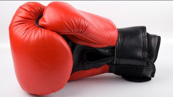 Ein Boxhandschuh liegt vor weißem Hintergrund.