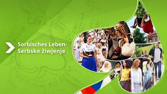 Collage mit verschiedenen Foto-Motiven aus dem Sorbischen Leben in der Form eines Lindenblatts