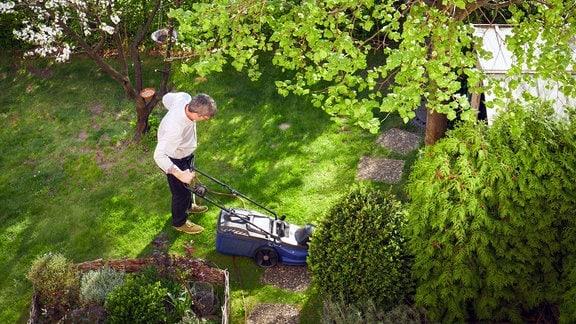 Mann mit Rasenmäher