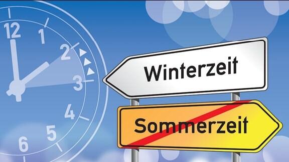 """Wegweiser mit der Aufschrift """"Sommerzeit"""" durchgestrichen, """"Winterzeit"""", Uhr"""