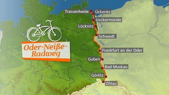 Die Karte zeigt eine Fahrradroute durch Deutschland.