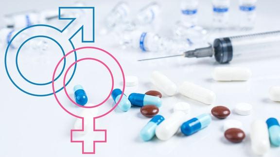 Medikamente und eine Spritze und die Symbole für das weibliche und das männliche Geschlecht.