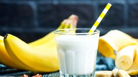 Milchshake und Bananen