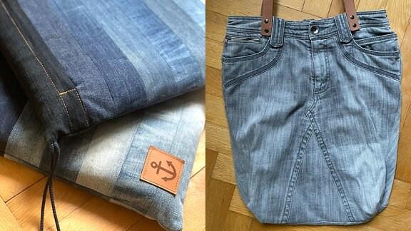 Kissen und Tasche, genäht aus alten Jeans.